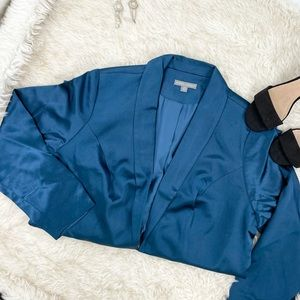 Jessica London Blue Satin Plus Size Blazer Jacket